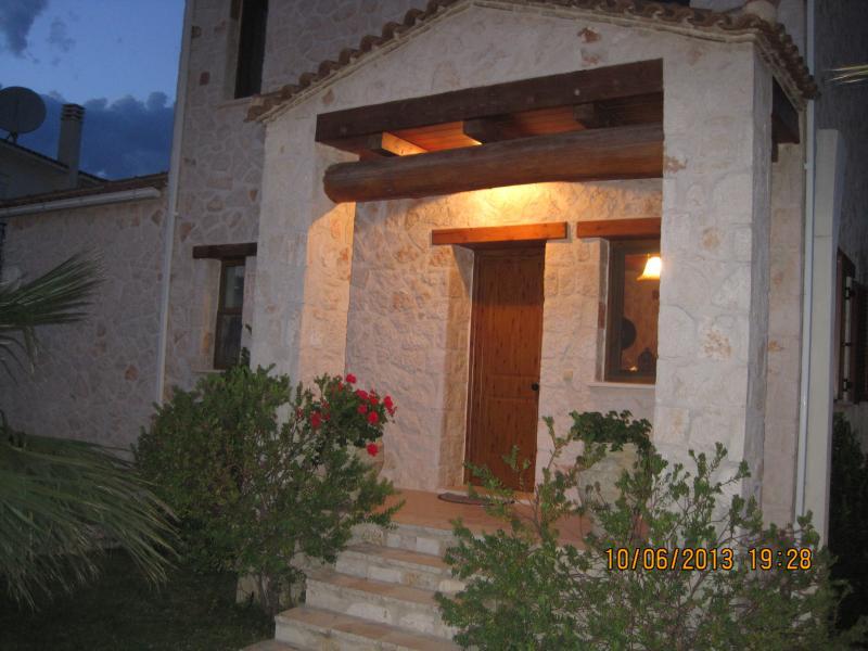 View of front of Villa at night