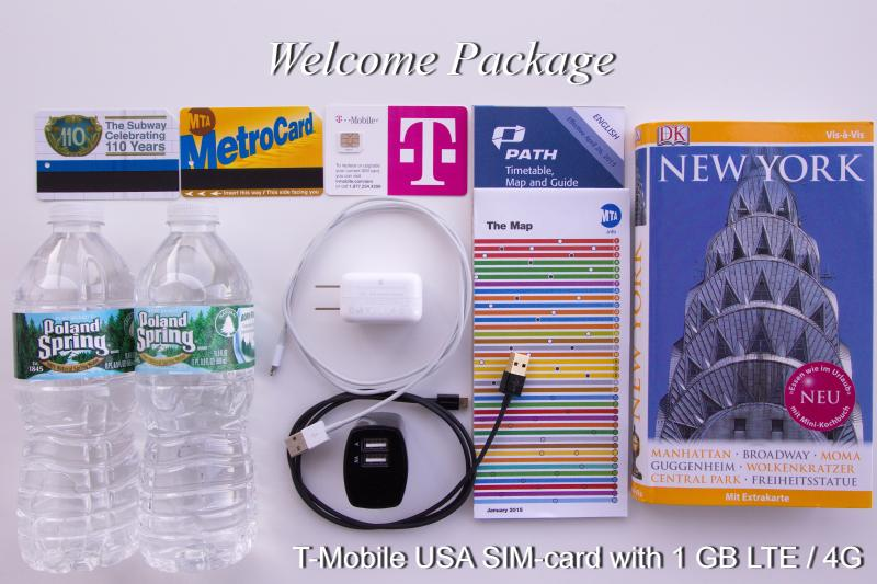 Welcome Package: 1GB LTE/4G T-Mobile USA SIM card, USB-Charger for smartphones and tablets