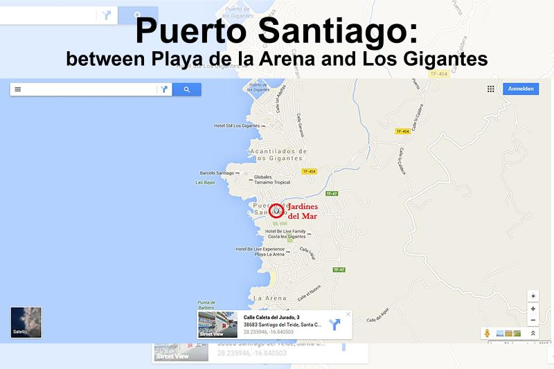 Geographic location of the apartment between Los Gigantes and Puerto Santiago.