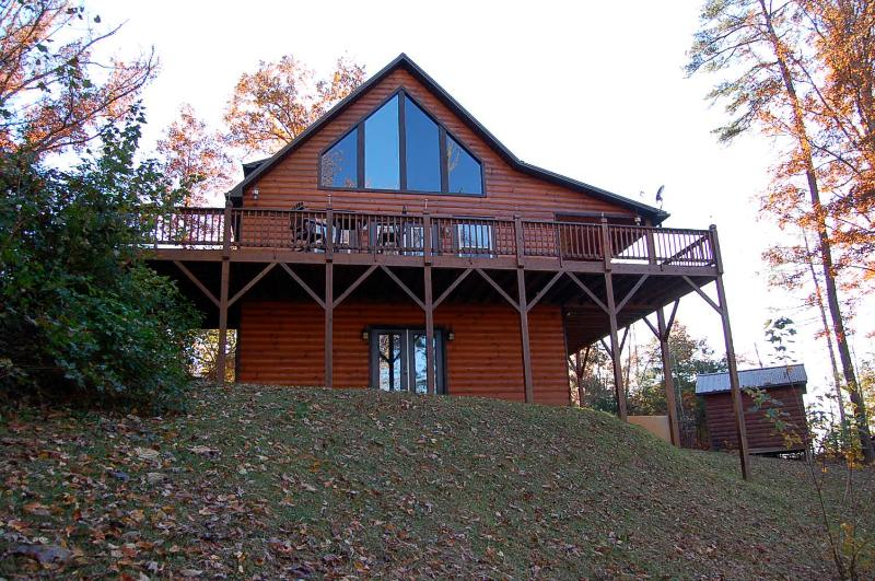 Cabin is close to entrance. 4 bdrm 3 1/2 bath cabin.
