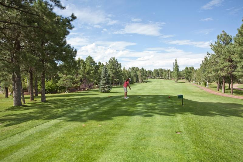 18th hole at Pinetop Lakes Golf Club.  Walking distance away with restaurant/bar