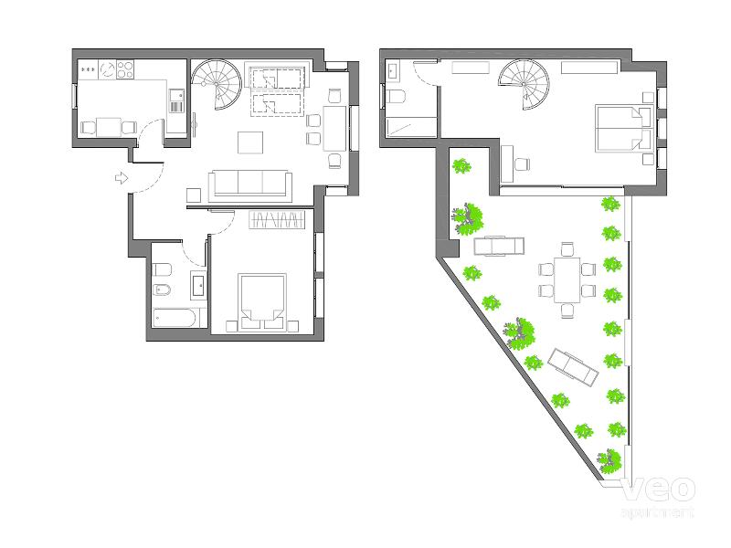 70m² + 30m² terrace | fourth/fifth floors | elevator