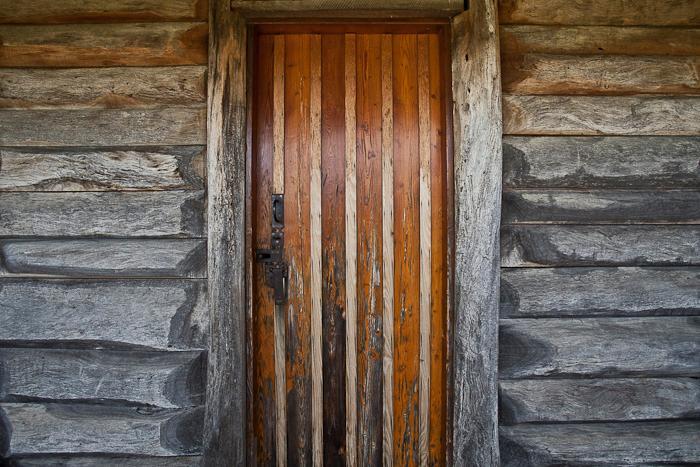 Front door log cottage