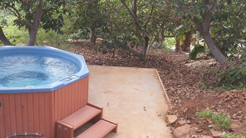 Private hot tub for your exclusive use...tucked into the adjacent avocado grove.