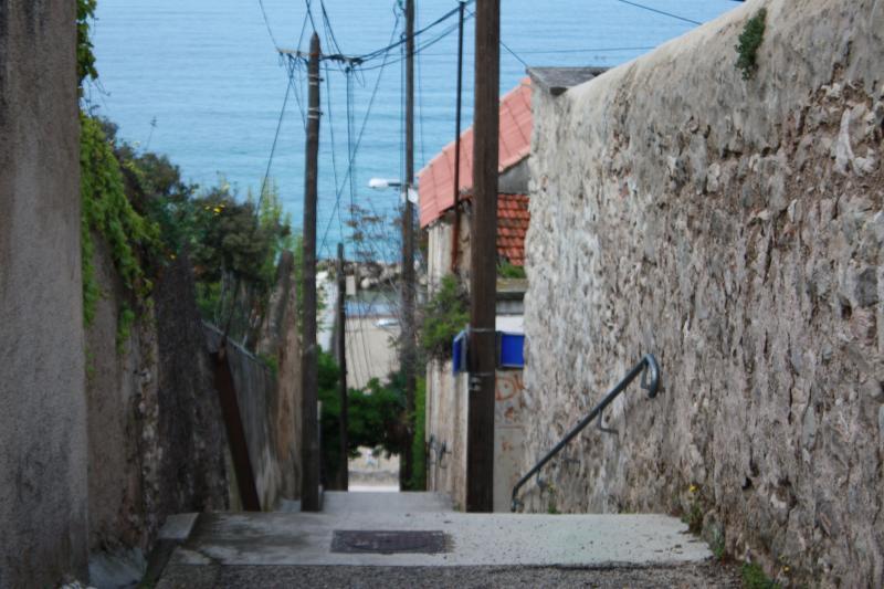 Stairs winding through the neighborhood