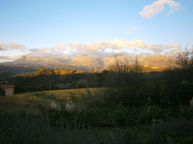 Early morning view of the Sibillini mountains