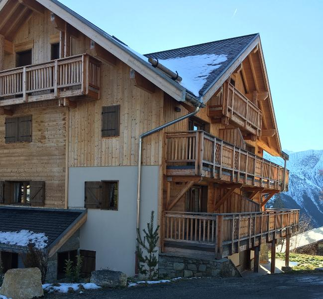 Front aspect of the chalet. No. 9 is nearest balcony in middle tier