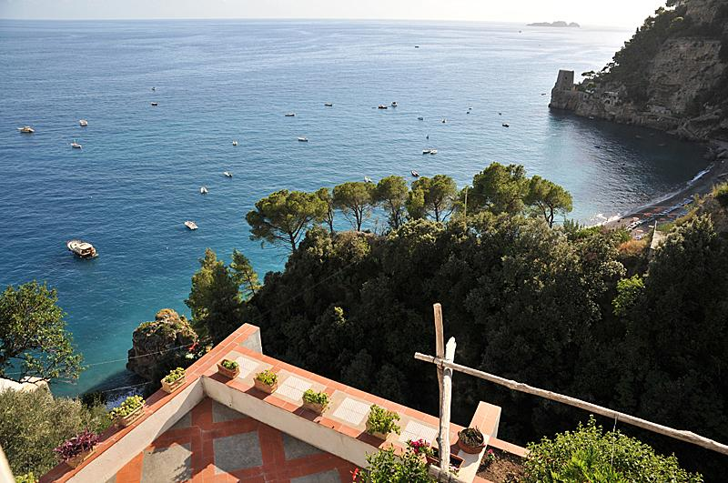 The private terrace with view to Fornillo beach and Li Galli Islands beyond.