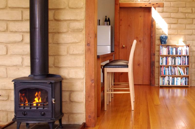 Warm wood fire, Mountain Ash cottage.