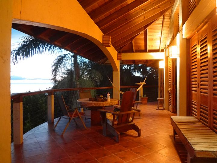 The upper veranda with the 'million dollar view' of the sea to the south west.