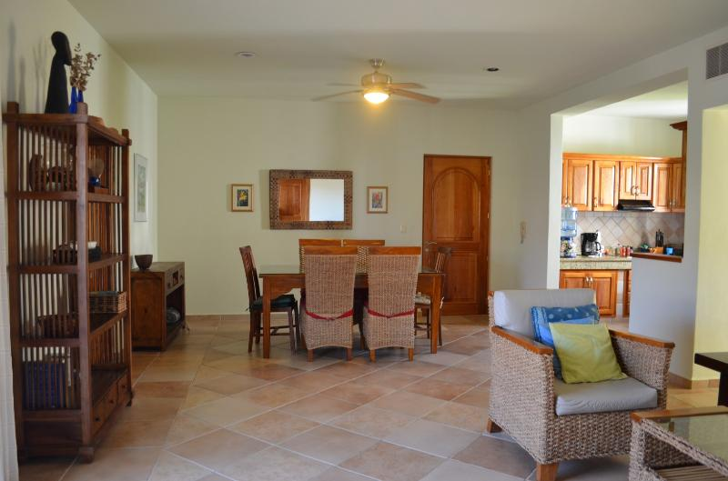Dining area is open to the Living room and Kitchen.