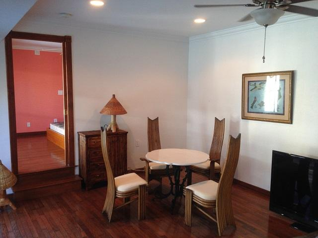 Dining Area - Marble Table and Bamboo Furniture.
