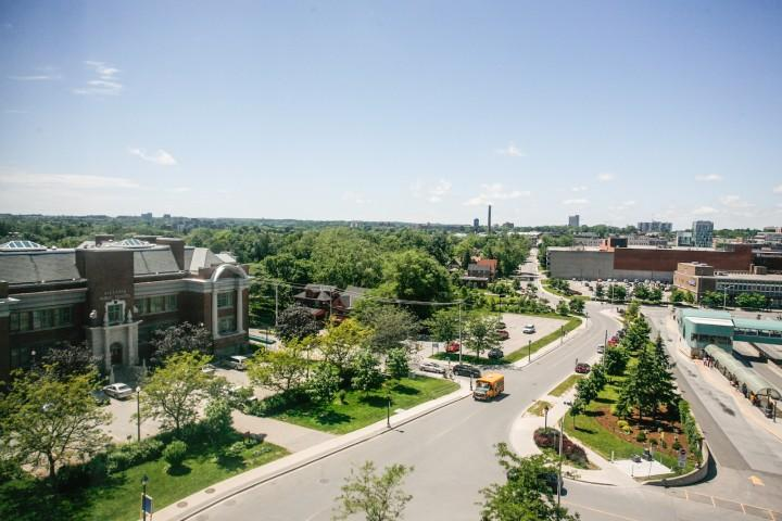 View of Victoria Park from the roof. This is the showcase park for the City of Kitchener.