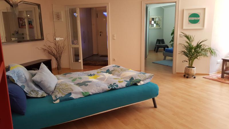 Sofa bed in living room area, sleeps 2 adults