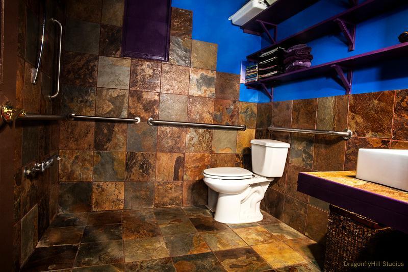 Dans le studio : la salle de bain, barres d'appui et beaucoup de tour autour de l'espace.
