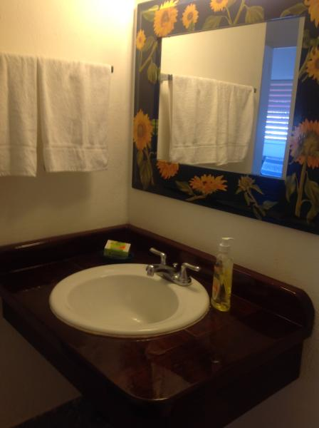 Private bathroom with all linen provided including beach towels