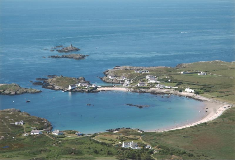 Aerial view over Rhoscolyn Bay (Borth Esgob  is second house from the left)