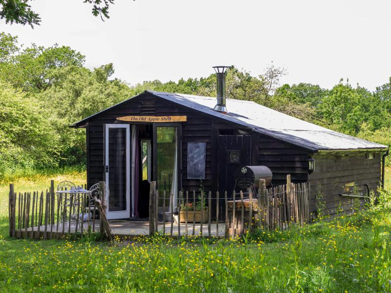 A cosy converted Apple Shed in its own  meadow, yet only 5 minutes walk from the beautiful village