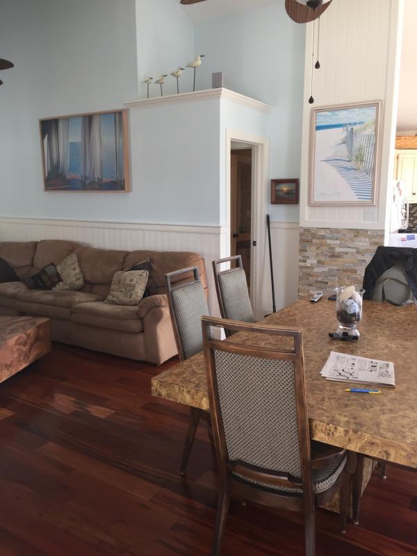 Living room flows into kitchen open floor plan