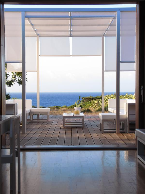 the sea view from the gazebo and the internal living area