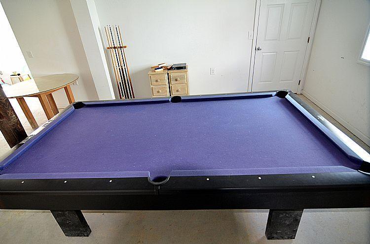 Pool table in ground floor rec room