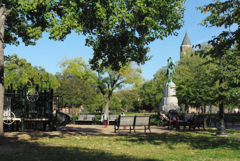 Stanton Park, less than a hundred yards away, has a playground for small children.