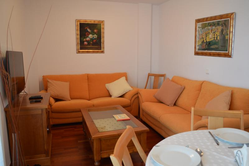 There's two large and very comfortable sofas, with a great TV and lots of films on DVD