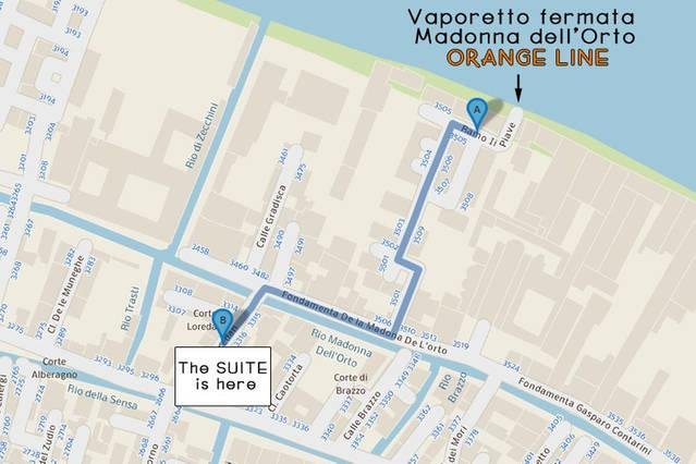 From the vaporetto (Madonna dell'orto stop) to the suite , 300 meters