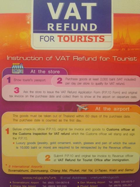 VAT refund for tourist in the shopping mall shops