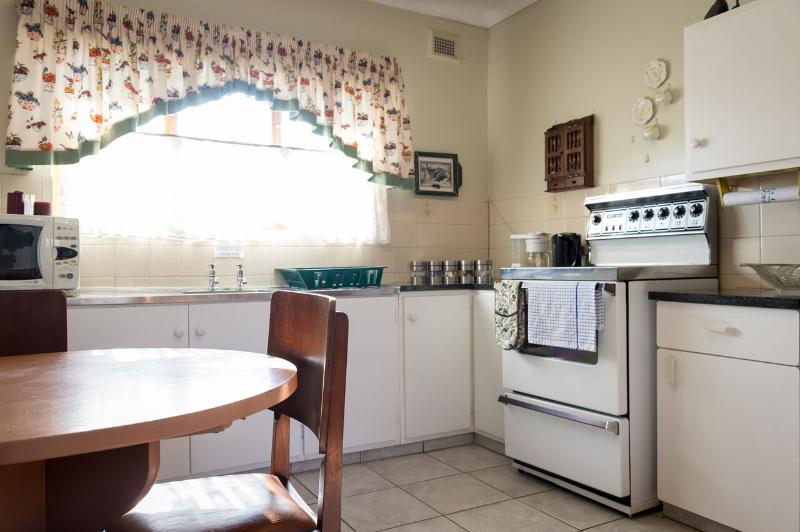 Fully equipped kitchen in Alan Paton Cottage. This is available to guests hiring the whole Cottage.