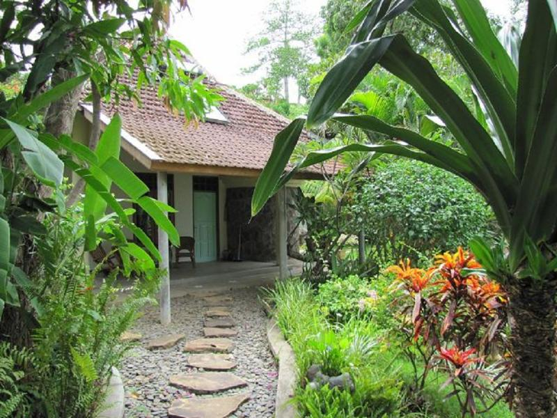 superior Bungalow in a large exotic garden,terrasse with hammock,relax chair,2 chairs and table