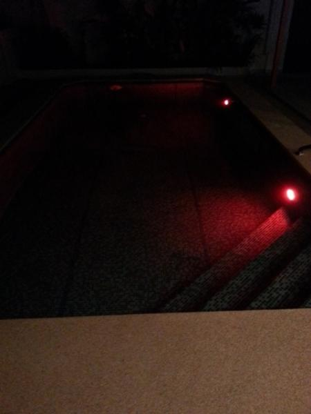 Swimming-pool by night with 2 underwater LED's with 18 programs (red color), etc.
