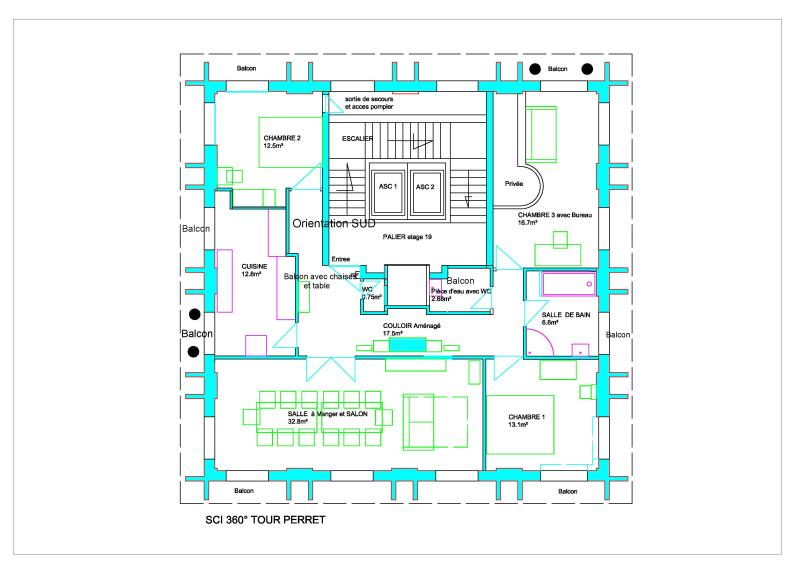 Apartment plan. Housing is the tour of the tower. (360 °). It lies between two attics.