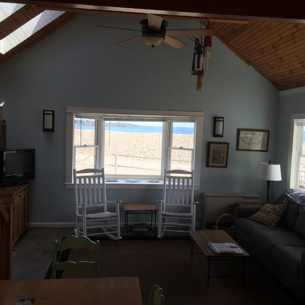 living room view overlooking Cape Hedge Beach