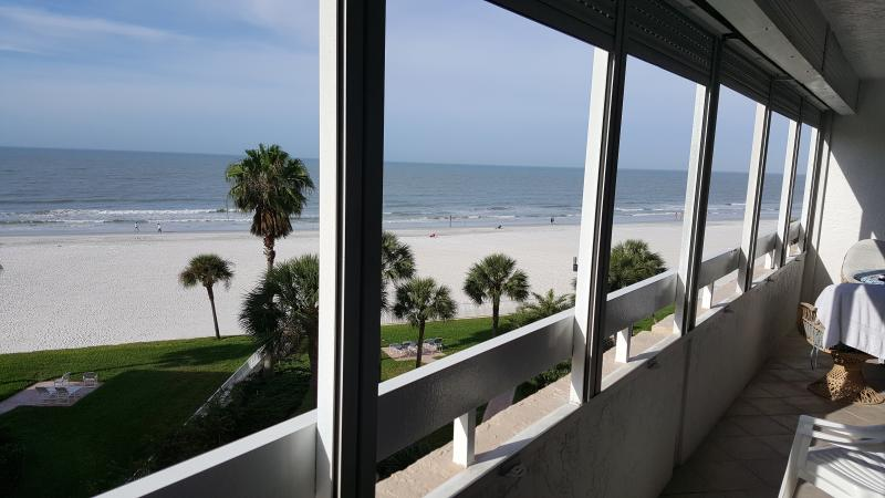 Beach view from balcony.