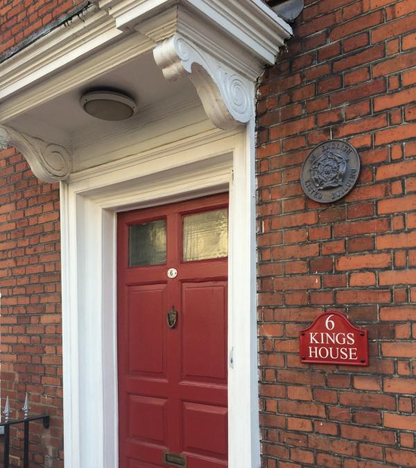Front door with name plates