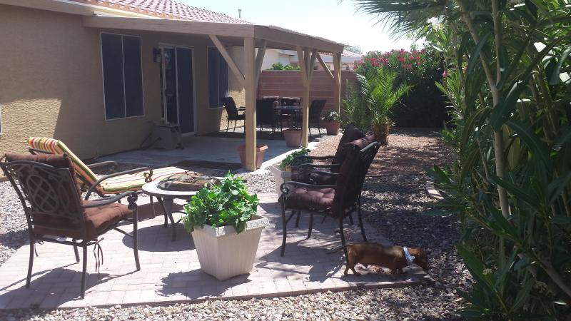 Relax in the shade under the patio or or in the sun by the firepit.