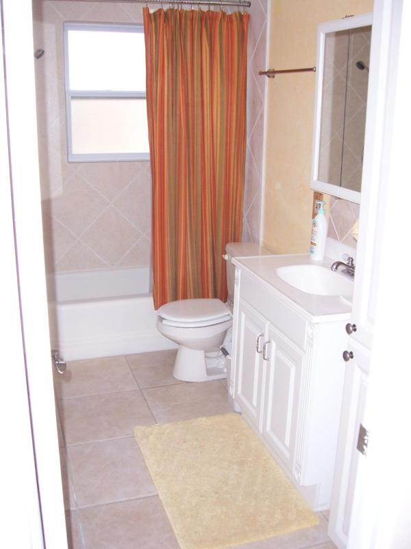 Guest bathroom with shower and bathtub.