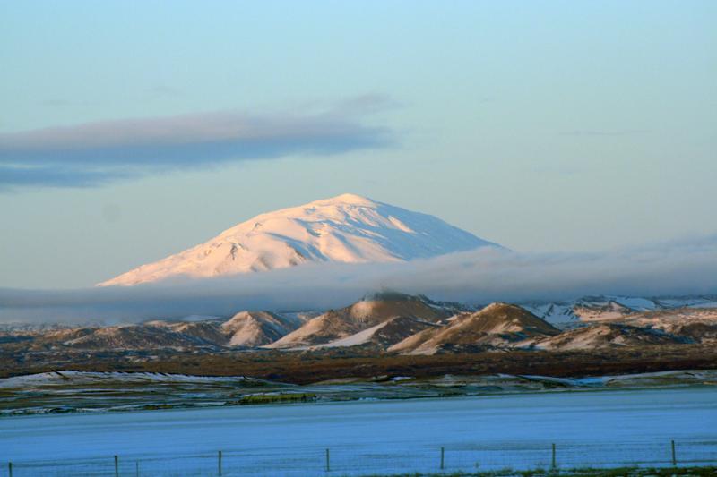 Majestic Hekla volcano. The Mountain.