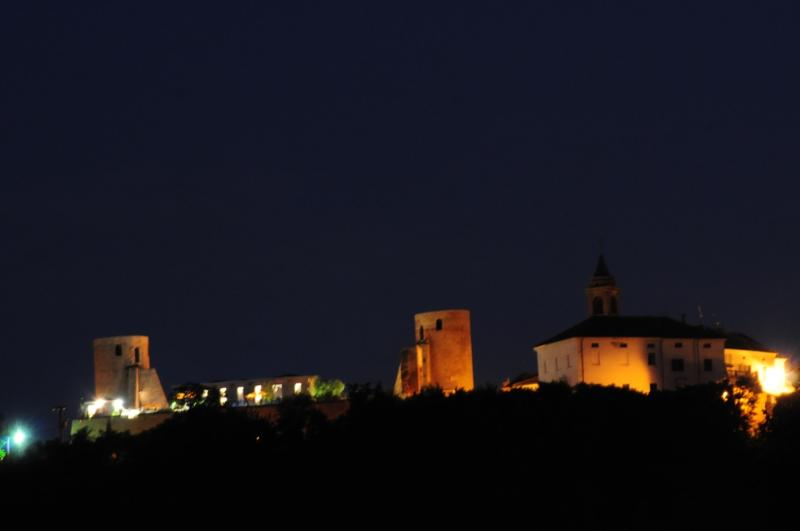Moasca's castle by night