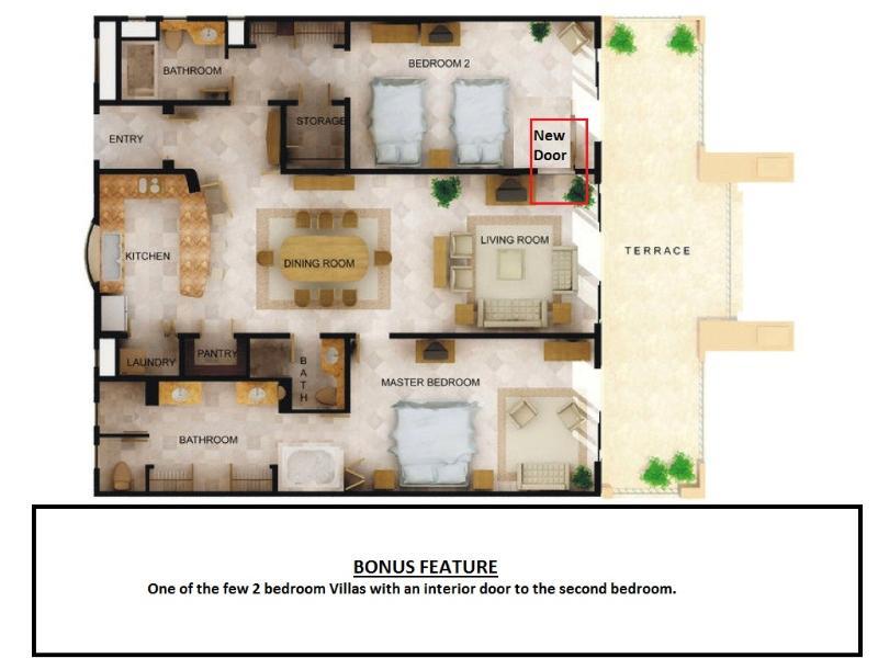 Floor plan showing new door to second bedroom
