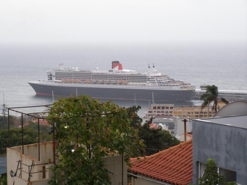 The Queen Mary 2 visits Funchal, seen from the open air terrace
