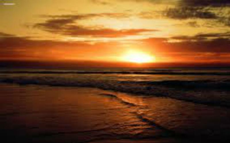 The beach at sunset.  Perfect for romance or family stroll.