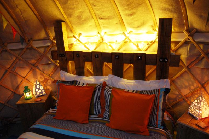 Luxury cosy bedding at The Secret Yurts