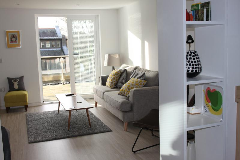 Open plan living room, opening on to sunny terrace