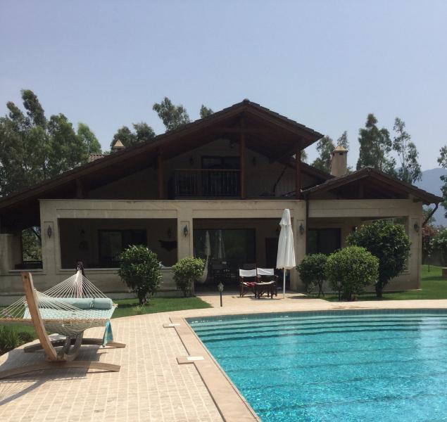 Large swimming pool at rear of villa.