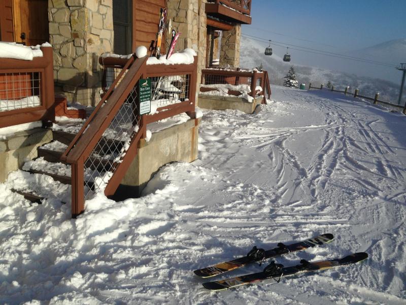 Enjoy the luxury of true ski in and out.  Ski down 200 Yards to Jordanelle Gondola.