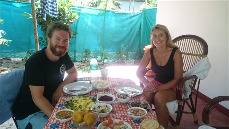 Guest enjoying Traditional Food at Beachsafari Home stay.