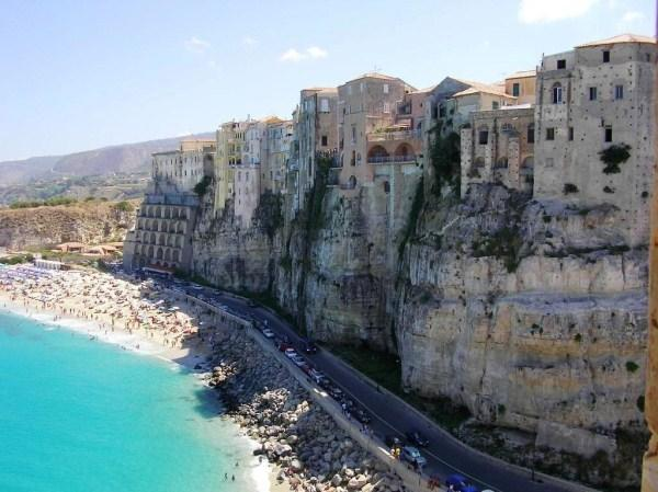 Wonderful beach below the historical centre of Tropea
