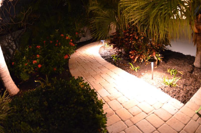 Safe path lighting illuminates all of the property...